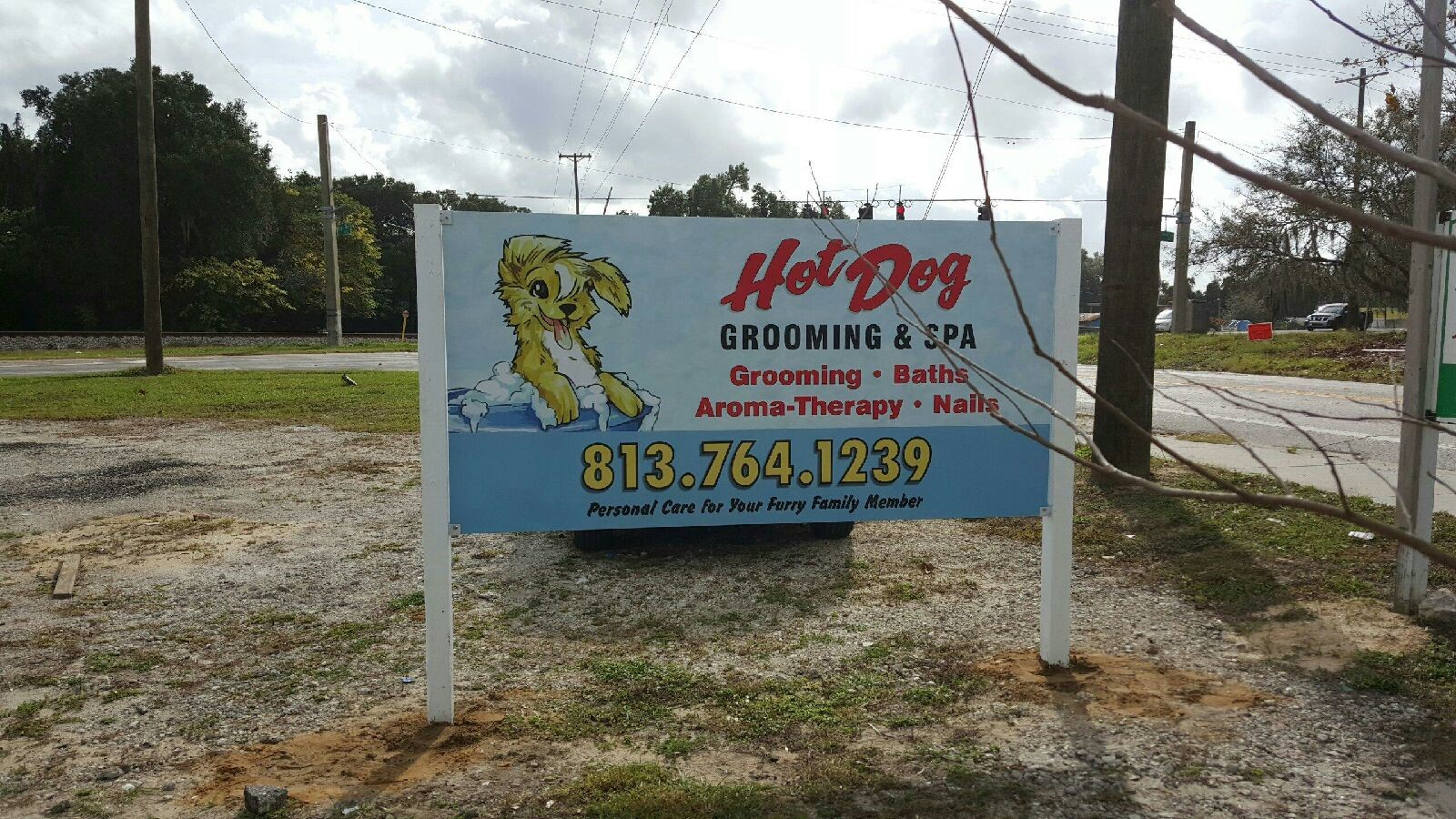 Hot Dog Grooming Sign